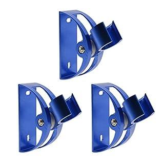 Shower Head Holder Space Aluminum Semicircular Fixed Showerhead Adjustment Wall Mounted Shower Holder Bathroom Fixtures Handheld Shower Head Bracket Connector for Holding Bidet Sprayer, Blue, Pack of 3