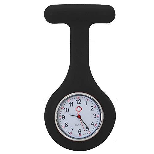tumundo Schwestern-Uhr Puls Anstecknadel + Geschenk-Box Etui Kittel Brosche Silikon-Hülle Quarz Krankenschwester Pfleger-Uhr, Farbe:schwarz