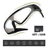 Kuan-Cycling glasses Sport all'Aria Aperta con Occhiali da Sole con videocamera HD 1080P per Ciclismo, Sport, Escursionismo, Escursionismo. Supporta 32 GB di schede di Memoria