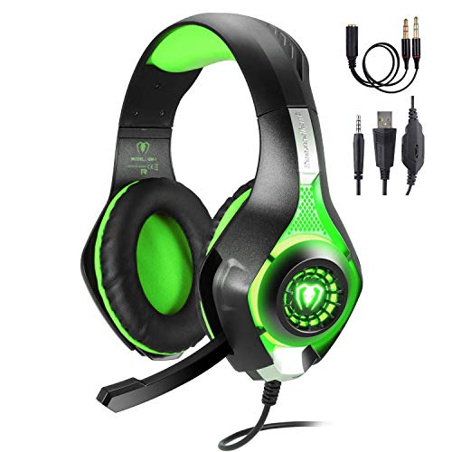 Kriogor Cuffie da Gioco con Microfono, 3.5mm Stereo Luce LED Gaming Headset per iPhone, Playstation 4, PS4, Xbox One (Verde)