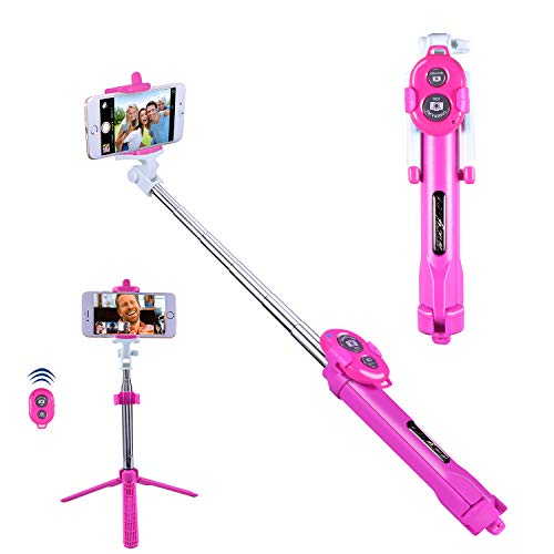 ck, Alfort Selfie Stab Stativ mit Bluetooth Fernbedienung Mini Selfie-Stange für iPhone Samsung Huawei Xiaomi Redmi LG Sony usw iOS und Android SmartPhone bis 5.5 Zoll (Rosa) ()