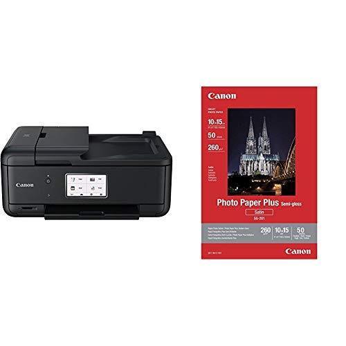 Canon Pixma TR8550 All-in-One Farbtintenstrahl-Multifunktionsgerät (Drucker, Scanner, Kopierer, Fax) schwarz + SG-201 Fotopapier Plus Seidenglanz, matt (260 g/qm), 10 x 15 cm, 50 Blatt