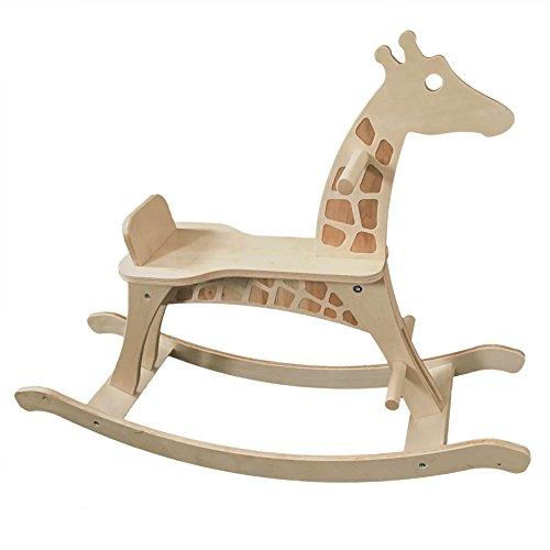 Schaukelgiraffe (Schaukelpferd) aus Holz: ökologisch, sozial hergestellt, Spielzeug ab 1 Jahr mit Sitzring
