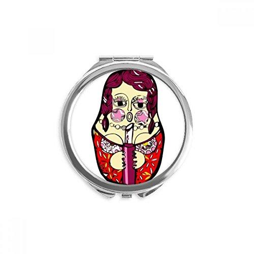 DIYthinker Russland russische Verschachtelungs-Puppen Weibliche Spiegel Runder bewegliche Handtasche Make-up 2.6 Zoll x 2.4 Zoll x 0.3 Zoll Mehrfarbig (Verschachtelungs-puppen)