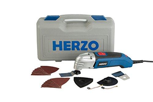 HERZO Multiherramienta oscilante multifunción con hojas de lija, accesorios de lijado, cuchillas,maletín Bmc, 300W
