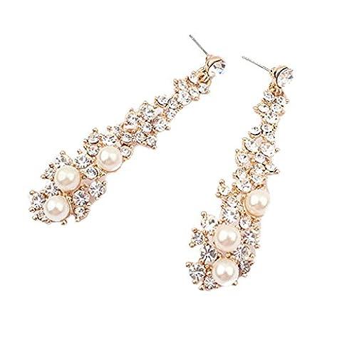 LUFA Damen Lange Ohrring-Kristallrhinestone-Perlen Ohrringe baumeln Jewel für Frauen
