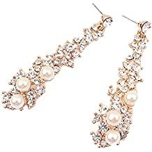 Largo pendiente de cristal de diamantes de imitación perla de moda brillante aleación cuelgan orejones pernos