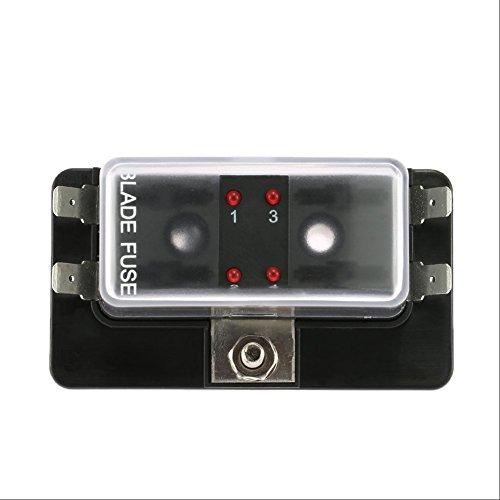 Qiilu Circuit Blade Sicherungskasten Blockhalter mit LED Warnleuchte Kit für Auto Van Boat Marine (4 Weg) (Marine-blau-wohnungen)