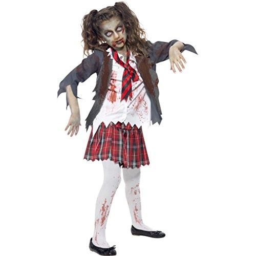 Amakando Schulmädchen Kostüm Zombiekostüm Kinder M 140 6 – 8 Jahre Kostüm Untote Kinderkostüm Zombie Halloween Mädchenkostüm Horrorkostüm Schülerin