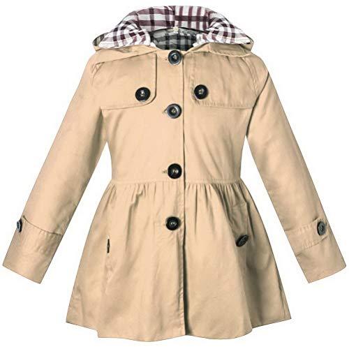 ARAUS Mädchen Mantel Herbst Winter Klassische Jacke Klein mädchen Lang Windjacke mit Kapuze Baumwolle Trenchcoat 1-9 Alter - Plaid Trenchcoat