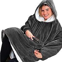 Seogva Oversized Sherpa Hoodie, draagbare hoodie sweatshirt deken, super zacht, warm, comfortabele deken hoodie, one size fits all, mannen, vrouwen, meisjes, jongens, vrienden