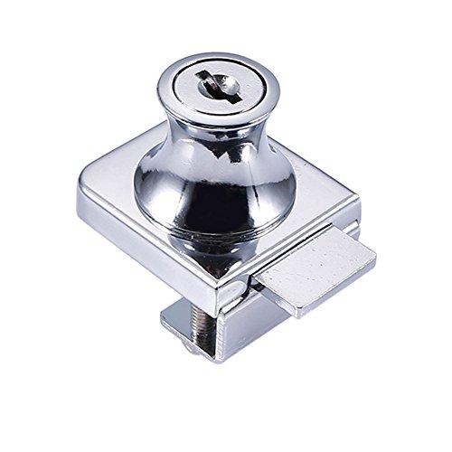 Cutogain Zink Legierung Schloss Glas Vitrine Showcase Schlösser für 5–8mm Glas Tür Ohne Bohren mit 2Schlüssel (Glas-tür-schloss)