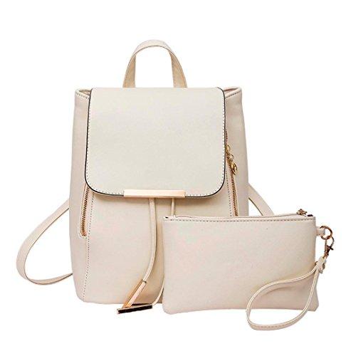 Rucksack Kolylong® 1Set 2 PCs Damen Vintage Rucksack PU Leder Elegant Schultasche für Mädchen Rucksackhandtaschen Umhängetasche Freizeit Daypacks Für Outdoor Sports Backpack (Beige)