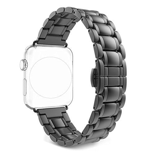 Bracelet pour Apple Watch 38MM Noir, Rosa Schleife iWatch Bracelet en acier inoxydable un Replacement de Smart Watch Band avec Métal Fermoir déployante Series 1 2 Watch Strap Wristband pour iWatch 38mm (Compatible avec 2016 Nouvel Watch Series 2)