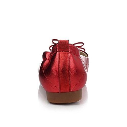 VogueZone009 Donna Senza Tacco Punta Chiusa Scarpe A Punta Tirare Ballerine Rosso
