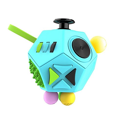 GZQ Fidget Cube Fun 12 Sided Cube Toys Anti-anxiety Depression Stress Relieving for ADD, ADHD, Autism Kids Girls Adults Great for Work, Office, School (Green Colorful)