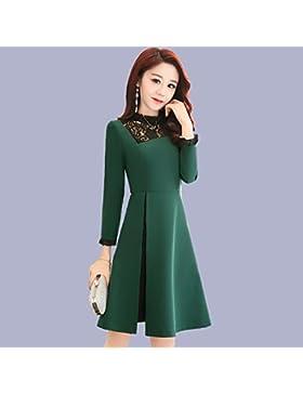 GAOLIM Vestidos Primavera Mujer Costura Imprimación De Manga Larga Falda, L, Verde