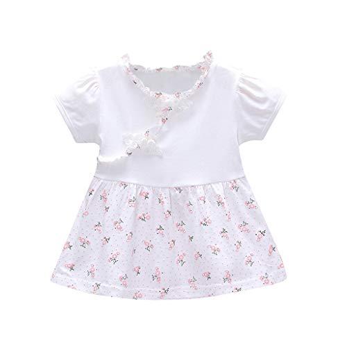 squarex  Mädchen Kurzarm Kleid Kleinkind Rüschen Bogen Rock Chinese Knot Flower Floral Baby Print Kleid Kinder Casual Rock Komfortabel (Tier-print-kleider Junioren Für)