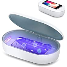 Mediweave UV Disinfection Box with Wireless Charging   UVC Sterilizer Box UV Sanitiser Box UVC Disinfection Box with Qi 10W Wireless Charger, UV Steriliser for Smartphones/Watches/Masks (White )