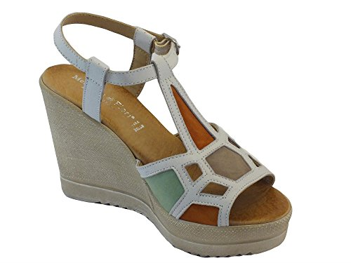 Sandali per donna Mercante di Fiori in pelle bianca e camoscio multicolore zeppa alta Bianco