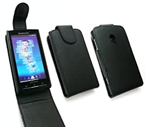 EMARTBUY SONY ERICSSON XPERIA X10 FLIP CASE COVER WITH BUILT IN PHONE HOLDER BLACK AND LCD SCREEN PROTECTOR