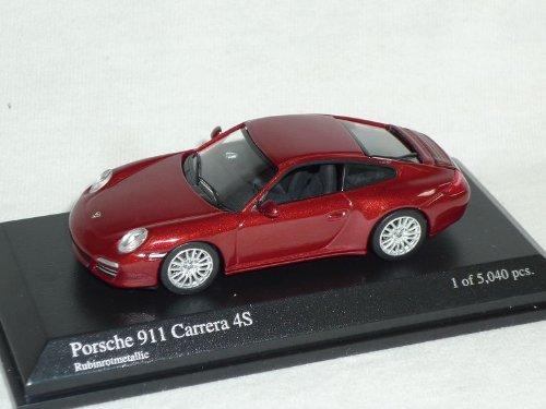 Porsche 911 997 Carrera 4s Coupe Rubin Rot 1/64 Minichamps Modell Auto Modellauto