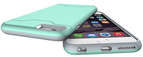 Nnopbeclik Schutzhülle Für Apple Iphone 6 Plus / 6S Plus, TPU+PC 2in1 Dural Protective Layer Handy Hülle Cover Case Etui mit Drehbar Ständer und Kartenschlitz Muster Handytasche Metallisch Farbe Luxus Grün