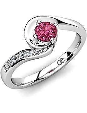 Moncoeur Verlobungsring Princesse Pink Turmalin + Silber Verlobungsringe 925 Sterling Silber mit Pink Turmalin...