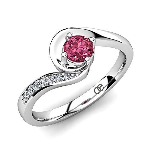 Moncoeur Verlobungsring Princesse Pink Turmalin + Silber Verlobungsringe 925 Sterling Silber mit Pink Turmalin Hauptstein und Swarovski + Silberring + echter...