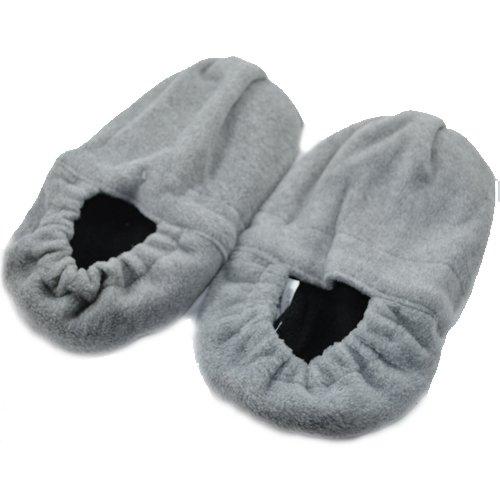 Wärme Pantoffel Socken Hausschuh Gr.M 35-38 grau (Damen Mikrowellen Pantoffeln)