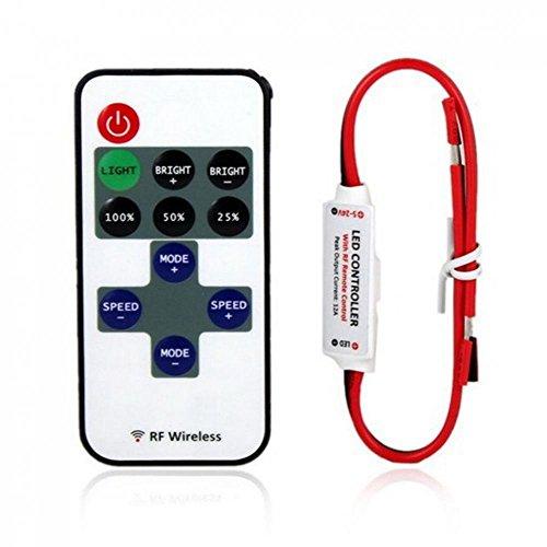 Mini 12V Controlador de Interruptor Control Remoto Inalámbrico Dimmer Llevado Luz Tira
