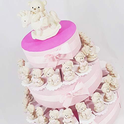 Torta bomboniera bimba orsetti sole luna stella assortiti effetto porcellana battesimo nascita femminuccia (torta da 35 fette)