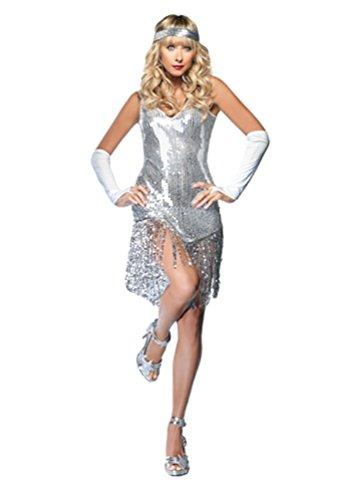 YOUJIA Damen Dance Kleid Tanzballkleider Salsa Latein Tango Kleider Halloween Flapper Kostüm mit Fransen Pailletten Silber