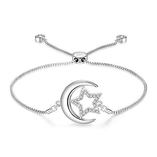 d35f84c15bac NINAMAID Brazalete de bolo expansible de Media Luna y Estrella con  circonita Chispeante Joyería de Mujer
