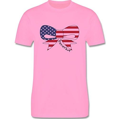 Kontinente - America Schleife - Herren Premium T-Shirt Rosa
