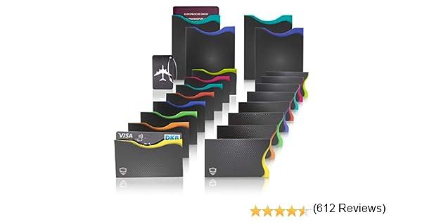 Protection carte RFID contre vol de donn/ées avec codage couleur pour cartes de cr/édit avec /étiquette bagage lot de 16 Amazy Protection cartes de cr/édit sans contact