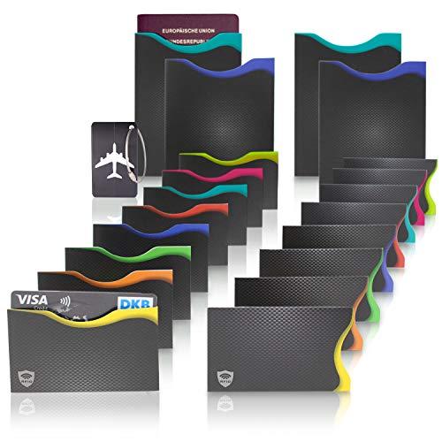 Amazy RFID & NFC Schutzhüllen (20 Stück) inkl. Kofferanhänger - TÜV-geprüft - 100{07cbcafeb1e9704e64e4d803329e26986809d3356244b35dfbaaef1db7c184ef} Schutz vor Identitäts- und Datendiebstahl - Extra-robuste Hüllen für Kreditkarten, EC-Karten, Ausweise und Reisepass