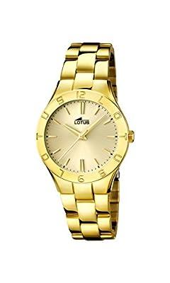 Lotus Reloj de cuarzo para mujer con oro esfera analógica pantalla y pulsera chapado en oro de acero inoxidable 15897/2
