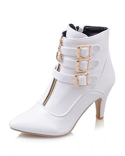 Minetom Damen Herbst Winter Stiefel Winterstiefel Stiefeletten Warm Schuhe mit Hohen Absätzen Weiß EU 38