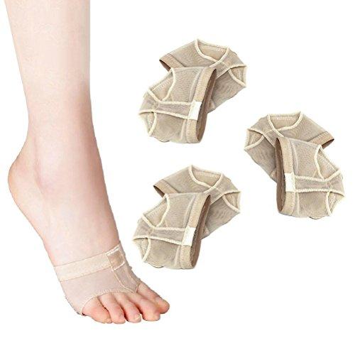 Pixnor Ballett-Pads 3 Paar professionelle Vorfuß-Pad Ballett Bauchtanz Vorfuß Pads-Kissen-Abdeckungen - Größe L