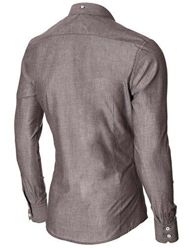 MODERNO Hemd Herren Slim Fit Businesshemd Langarmhemd (MOD1459LS) Braun