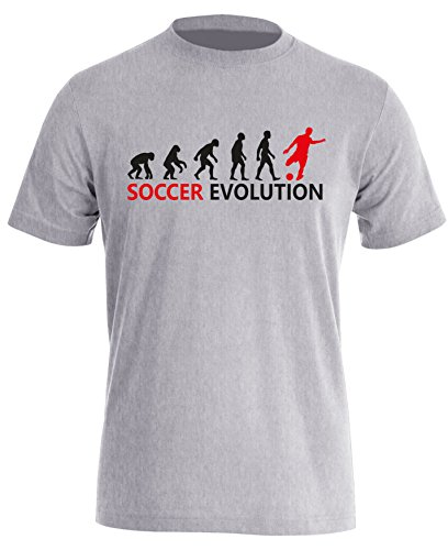 Soccer Evolution - Fußball Evolution - Football Evolution - Herren Rundhals T-Shirt Grau/Schwarz-rot