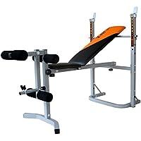 V-Fit Herculean - Banco plegable de pesas con módulo para piernas