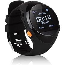 Dax-Hub Inseguitore di GPS tracciante Smartwatch per i bambini e bambini Vecchio Persone Anziani e Anziano; A-GPS Locator localizzatore SOS di Emergenza; Spingere intelligente Orologio Sveglia Supporto SMS