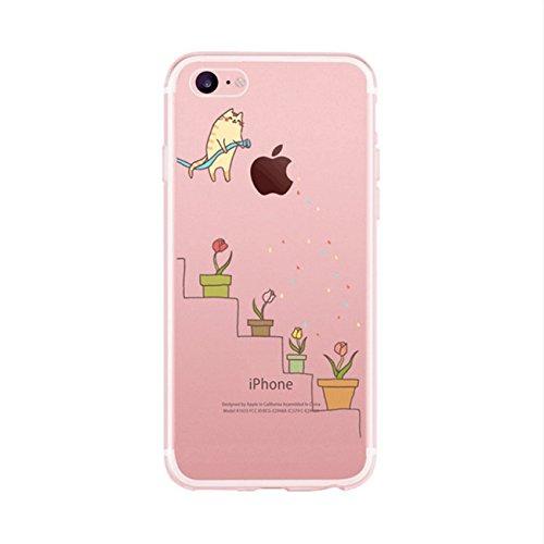 iPhone 7 Schutzhülle,TXLING Soft Flex TPU Silikon Bumper Style Handyhülle hülle Handy Gürtel Tasche Case Cover Fall-Abdeckung Etui TPU Bumper Schale für iPhone 7 4.7 - Blumentöpfe