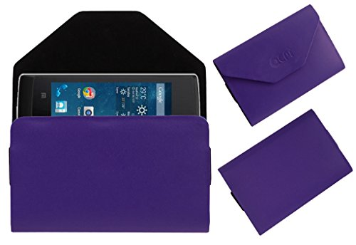 Acm Premium Pouch Case For Panasonic T9 Flip Flap Cover Holder Purple  available at amazon for Rs.179