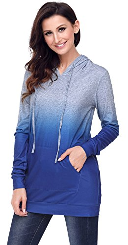 Y-BOA sweat-Shirt Capuche Femme Bicolore Pull-Over Long Slim Tunique Classique Marine