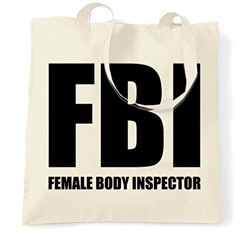 FBI Ispettore femminile corpo fresco adulti Stag regalo Groom Mens delle donne Sacchetto Di Tote Natural