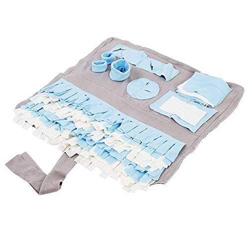 MnoMINI alfombra para perro para olfatos, para entrenamiento de perros, para forraje, alimentación, liberación de estrés, manta para mascotas, suministros de regalo para mascotas, Azul, blanco y gris.