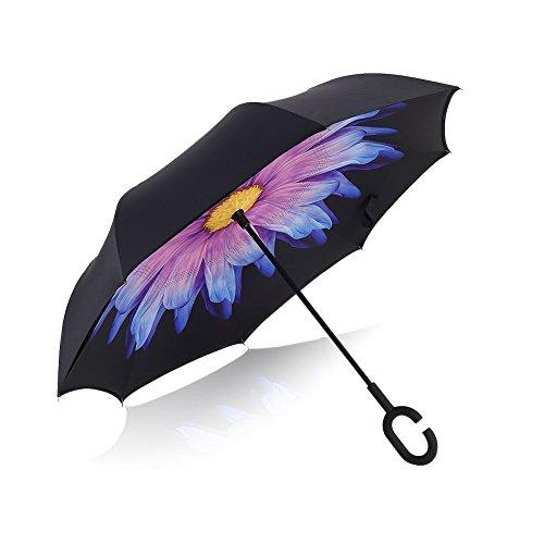 Creative manico a doppio strato Inverted ombrello da viaggio Auto Reverse ombrello, bellesie autoportante Inside Out antivento protezione UV pioggia ombrello grande, con sacca di trasporto